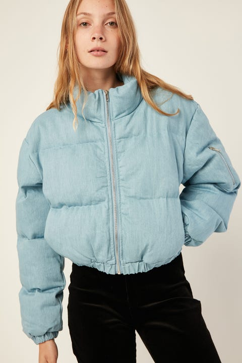 LUCK & TROUBLE Denim Cropped Puffer Jacket Blue