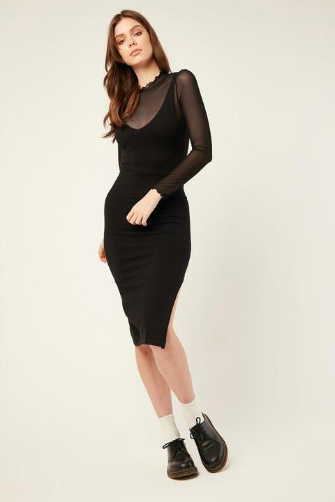 LUCK & TROUBLE Dreamer Knit Midi Dress Black