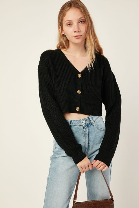 LUCK & TROUBLE Front Button Up Cardi Black