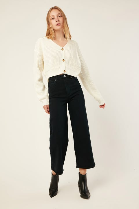 LUCK & TROUBLE Front Button Up Cardi White