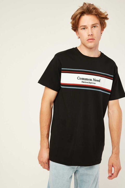 COMMON NEED Drift Panelled Tee Black
