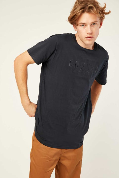COMMON NEED Relay Tonal Embro Tee Navy