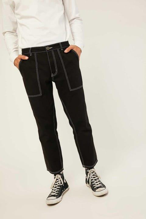 COMMON NEED Contrast Stitch Pant Black