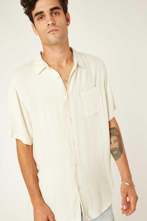 Common Need Herringbone Party Shirt Cream/Teal Stripe
