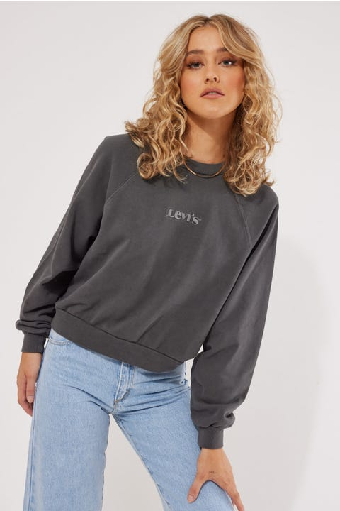 Levi's Vintage Raglan Crew Garment Dye Blackened Pearl