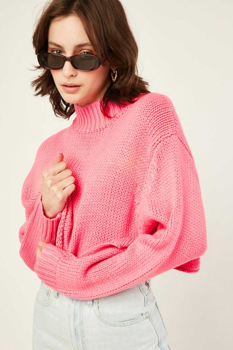 Luck & Trouble No Drama Cropped Knit Candy Pink