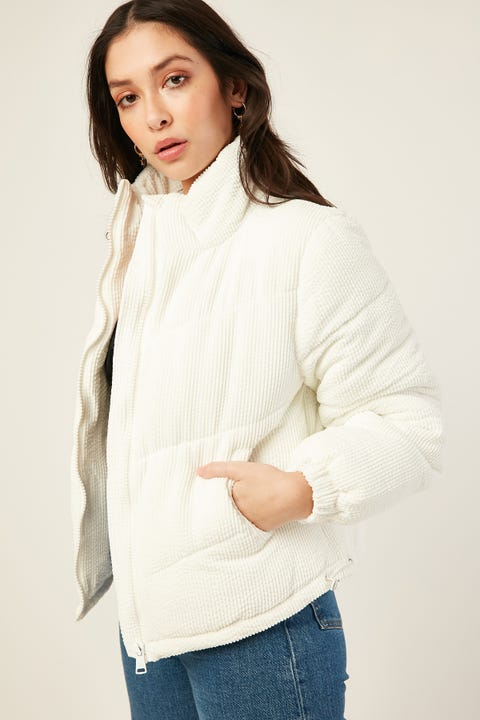 LUCK & TROUBLE Puff Cord Jacket Winter White