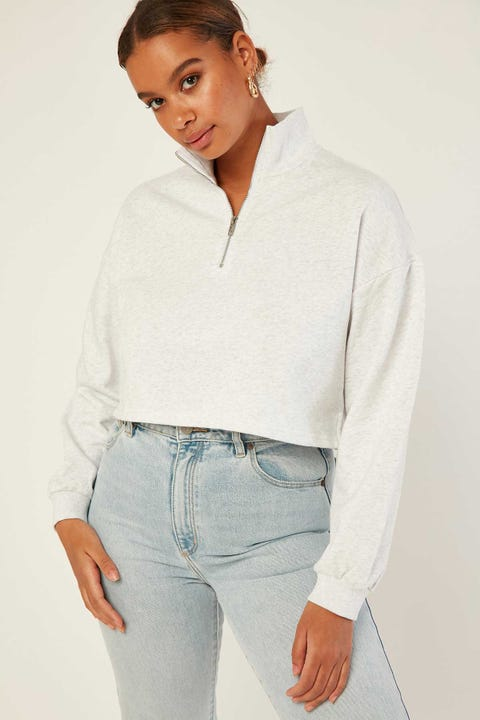 LUCK & TROUBLE Zipped Cropped Crew Snow Marle