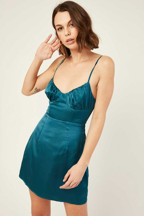 PERFECT STRANGER Status Satin Dress Teal