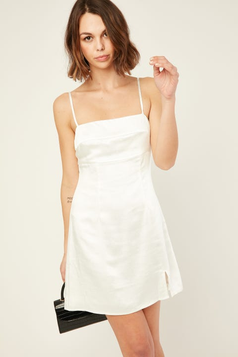 PERFECT STRANGER Reality Satin Dress White