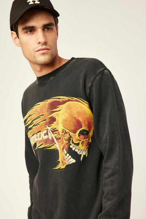 Sunnyville Flaming Skull Crew Washed Black