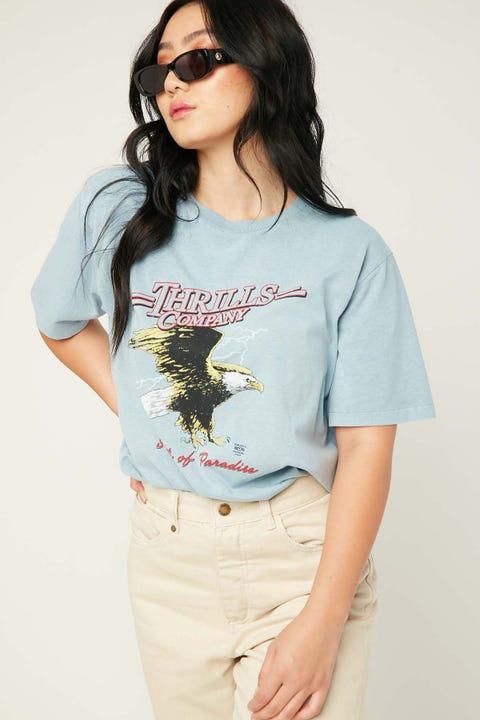 Thrills Speed Eagle Merch Tee Steel Blue
