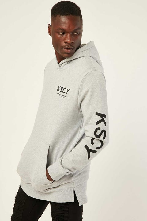 Kiss Chacey Reverence Step Hem Hoodie Grey Marle