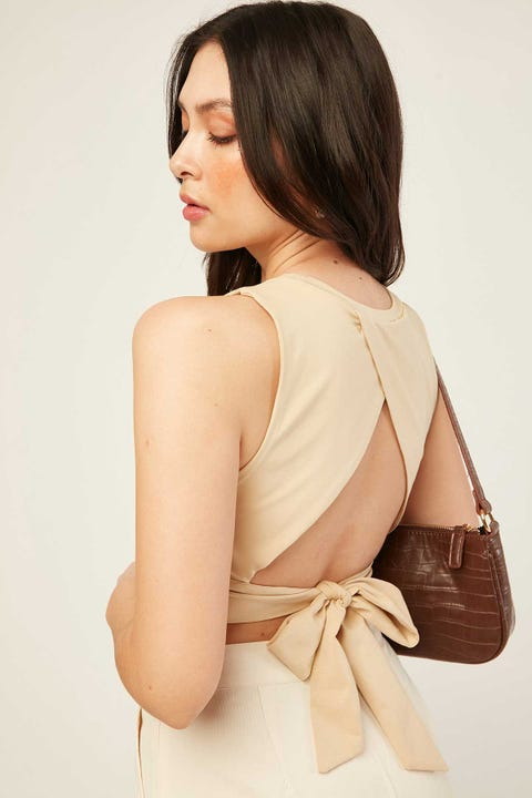 PERFECT STRANGER Open Back Top Nude