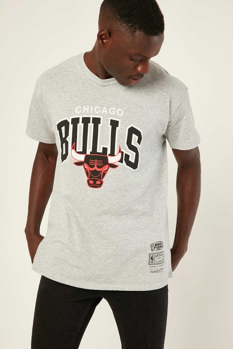 Mitchell & Ness Vintage Bulls Arch Tee Grey Marle