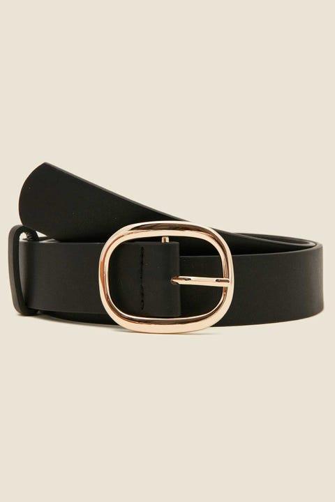 TOKEN Curve Buckle Belt Black/Gold