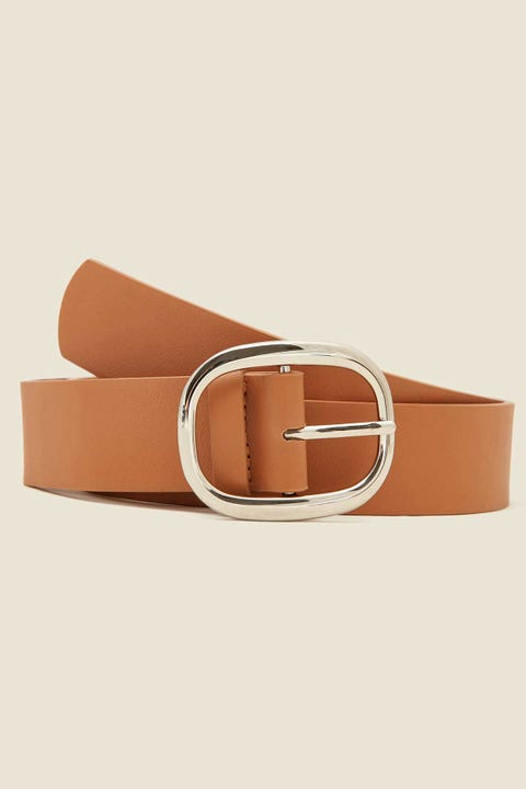 Token Curve Buckle Belt Tan/Silver