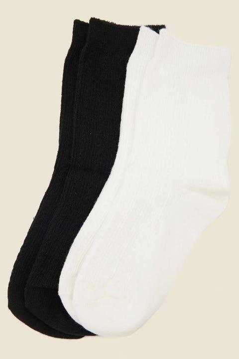 TOKEN Cable Crew Sock 2-Pack White/Black