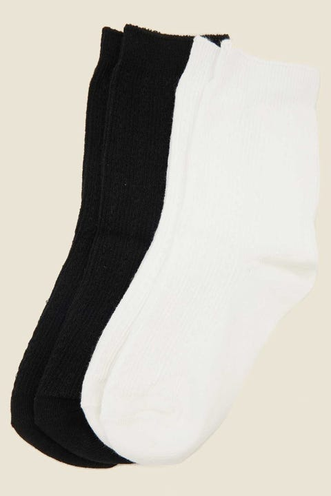 Token Cable Crew Sock 2-Pack White/Black