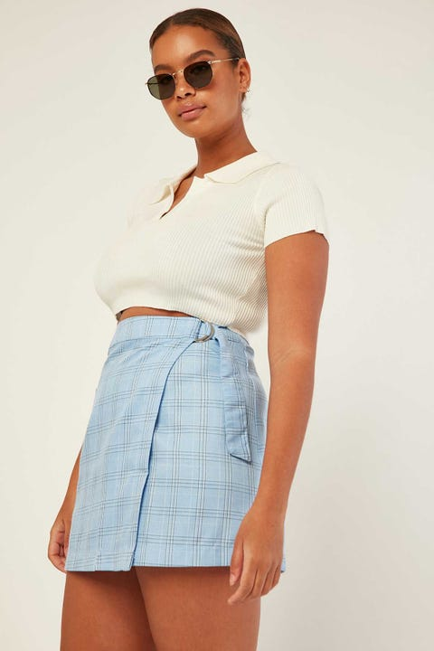 LUCK & TROUBLE Check Wrap Mini Skirt Blue Check