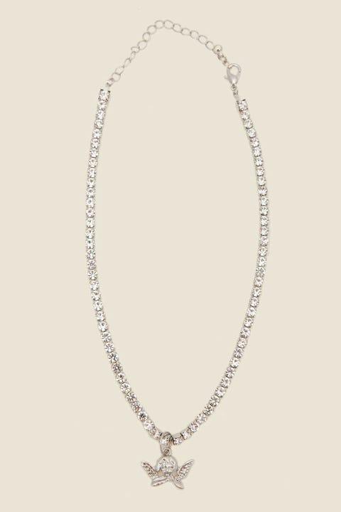 Token Diamante Cherub Choker Silver