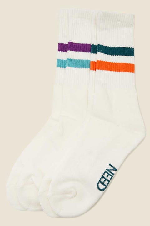 COMMON NEED Drop Sock 2 Pack Teal/Orange & Grape/Mint