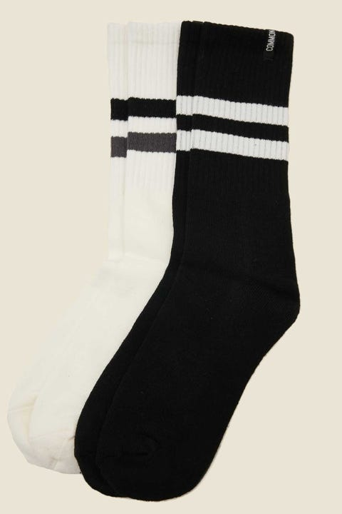 COMMON NEED Drop Sock 2 Pack Black & White