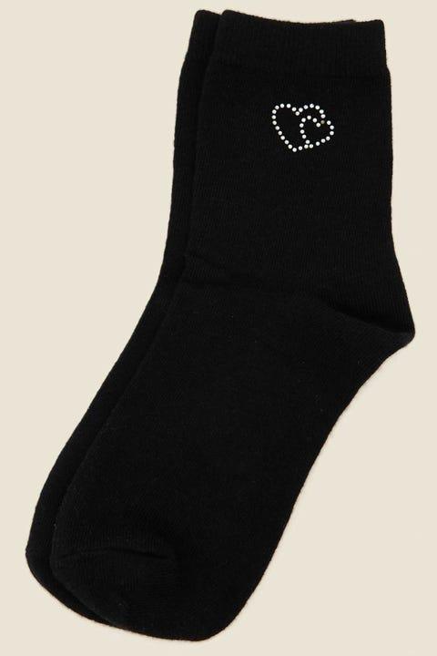 Token Diamante Heart Sock Black