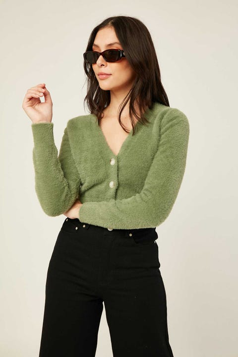 LUCK & TROUBLE Aisha Cardigan Green