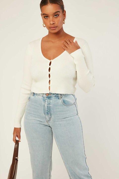 PERFECT STRANGER Tight Knit Cardi Off White