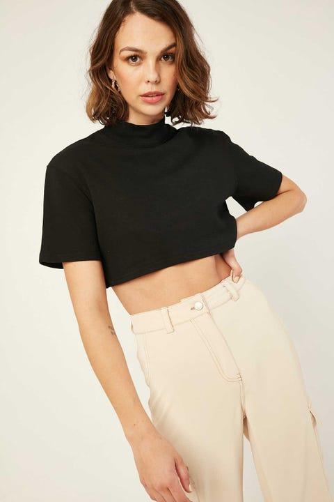 L&T Mocked Up Crop T-Shirt Black