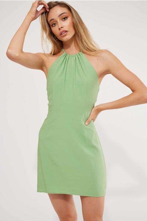 Perfect Stranger Halter Neck Mini Dress Green