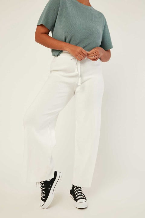 LUCK & TROUBLE Bene Knit Pants White
