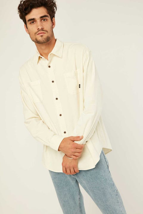 THRILLS Found Oversized Long Sleeve Shirt Natural