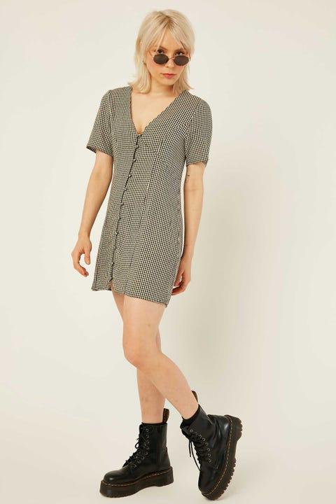 THRILLS Quad Check Dress Black