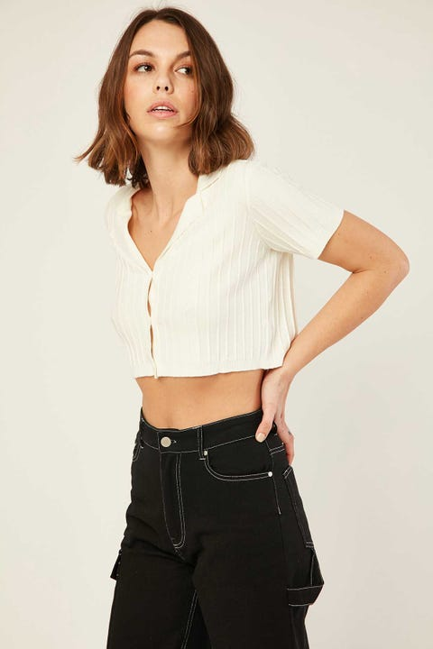 PERFECT STRANGER Edges Knit Top Cream