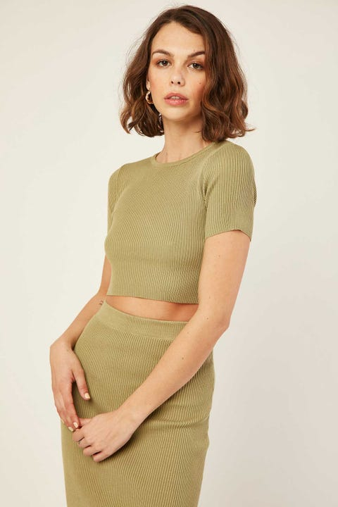 Perfect Stranger Knitted Crop Tee Green