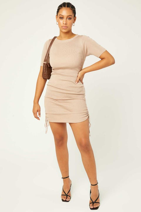 PERFECT STRANGER Run Away Mini Dress Taupe
