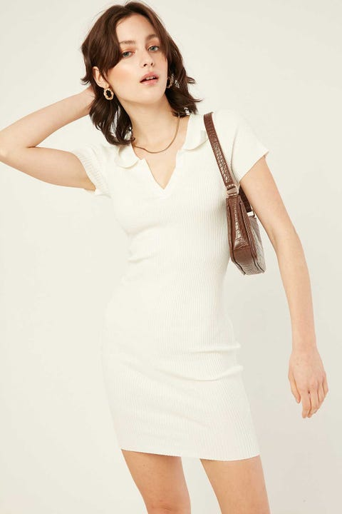 LUCK & TROUBLE Institute Knit Dress White