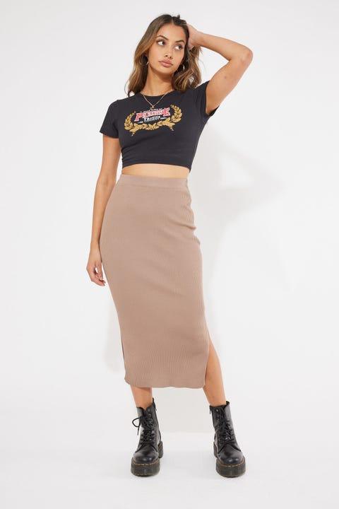 Perfect Stranger Drea Knitted Midi Skirt Taupe