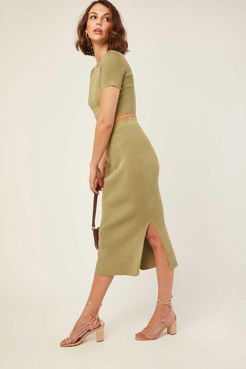 PERFECT STRANGER Drea Knitted Midi Skirt Green