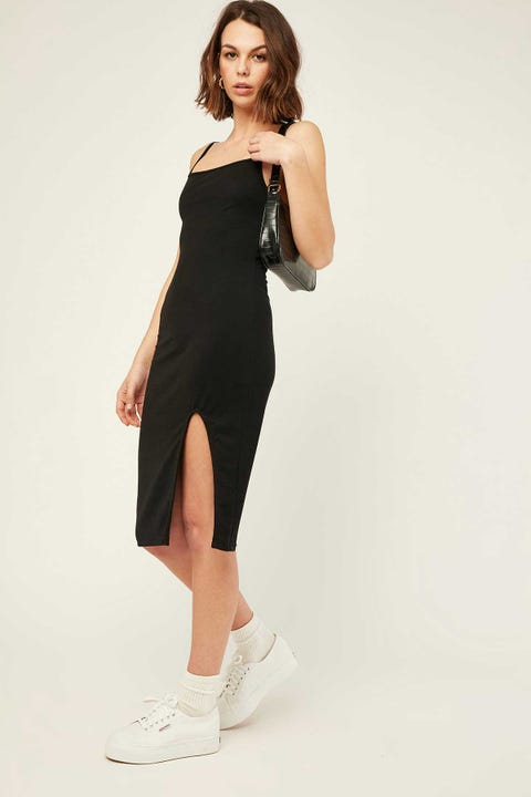 Luck & Trouble Lane Midi Dress Black