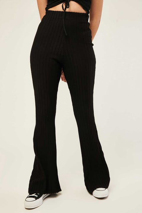 LUCK & TROUBLE Midnight Knitted Flares Black