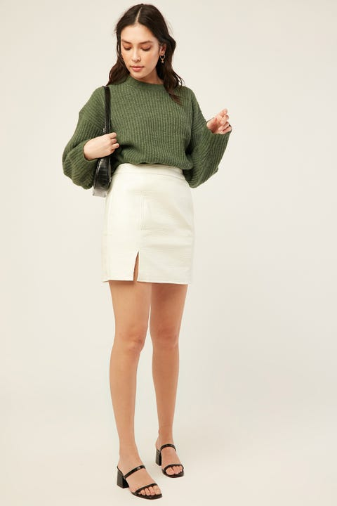 LUCK & TROUBLE Hollywood PU Mini Skirt Cream