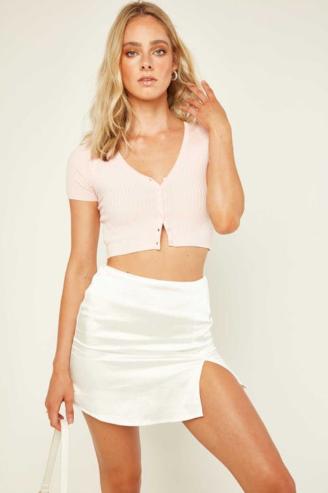 LUCK & TROUBLE Think Twice Skirt White