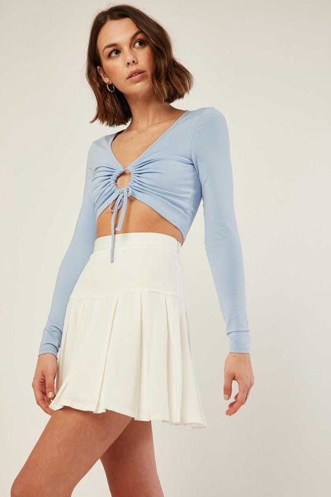 LUCK & TROUBLE Scholar Pleat Mini Skirt White