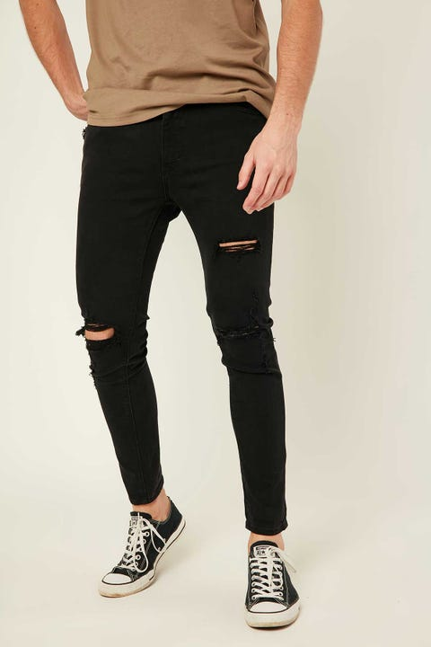 ABRAND A Dropped Skinny Turn Up Jean Black Rogue