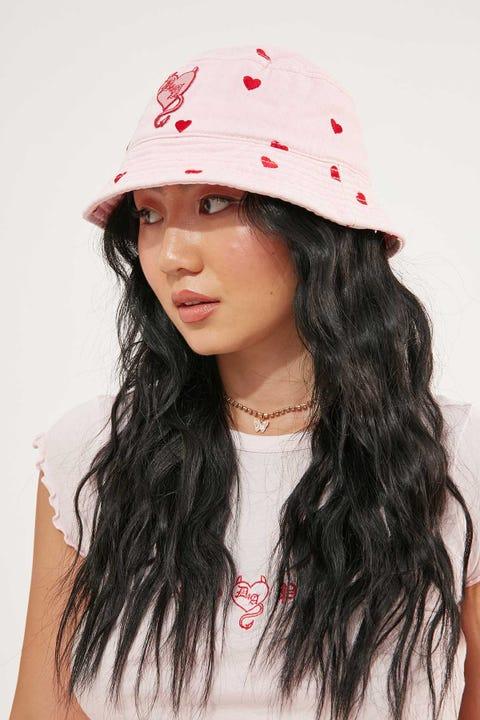 ABRAND x Dyspnea A Bucket Hat Pink Heart Pink Heart