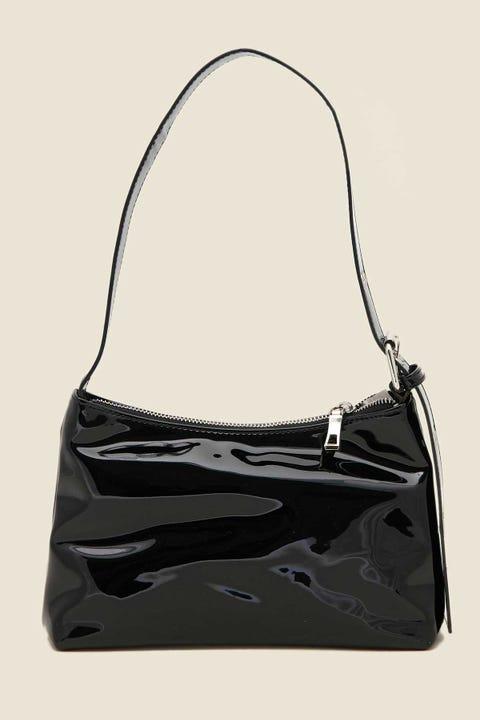 TOKEN Patent Shoulder Bag Black