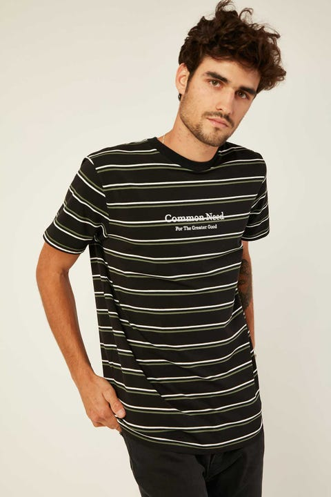 COMMON NEED Stanley Stripe Tee Black/Jade/White